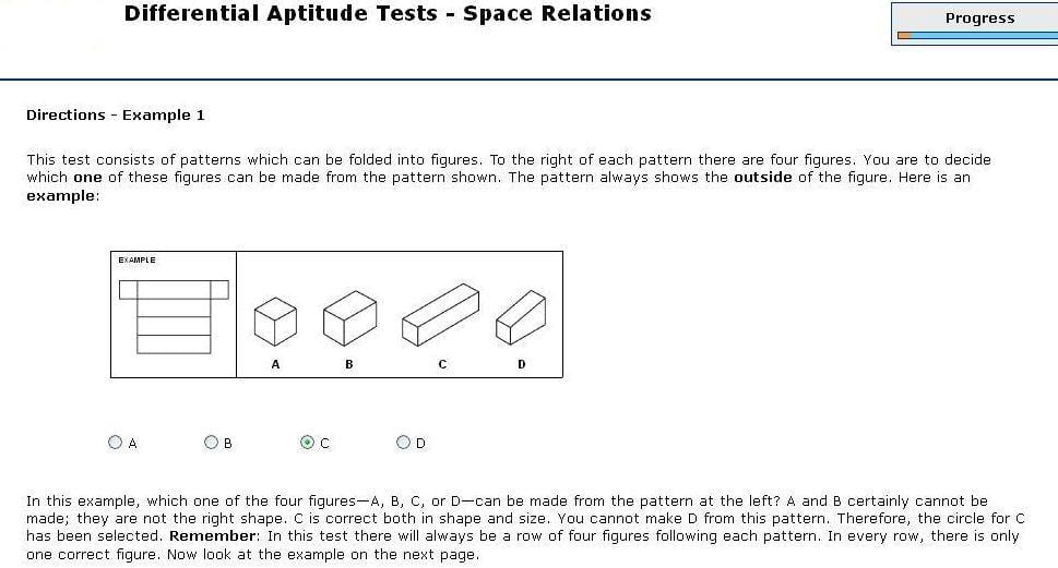 Space relations sample question