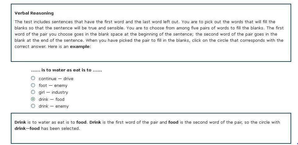 Verbal reasoning sample question